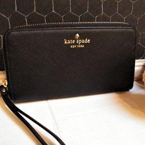 KATE SPADE WALLET Wristlet Black Saffiano Leather
